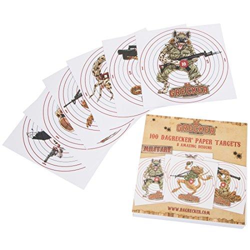 DAGRECKER Softair Zielscheiben Papier Military Design 100 Stück, DG002