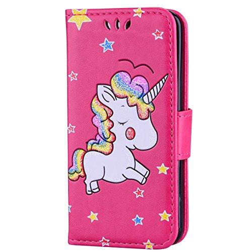 Ailisi cover ipod touch 5/6, unicorno bling glitter flip cover custodia caso libro pelle pu e tpu silicone con funzione supporto chiusura magnetica portafoglio - rosa caldo