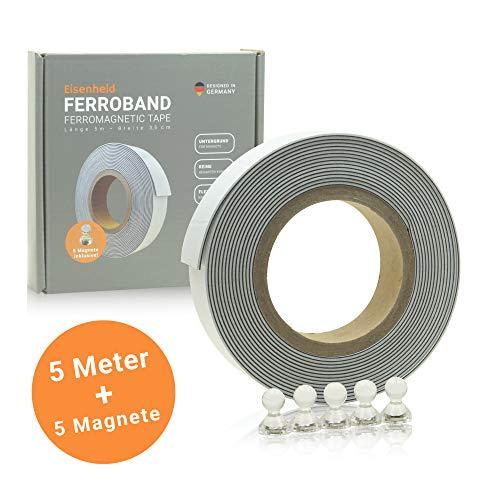 Eisenheld Metallband Set Inklusive 5 Magnete Eisenband Lange 5m Breite 35cm Weiss