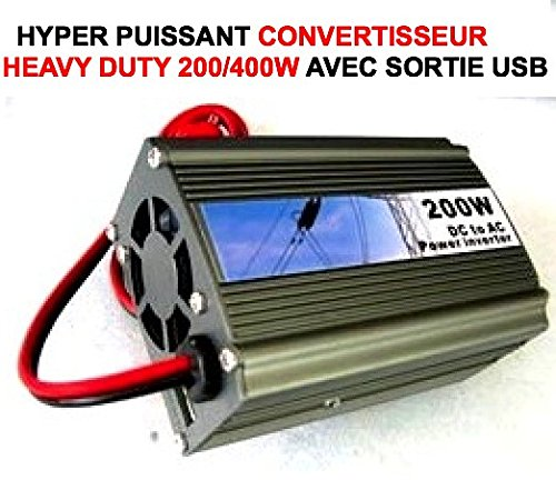 HYPER ROBUSTE VENTILE PUISSANT CONVERTISSEUR 12V 220V PUISSANCE 200W NOMINAL 400W EN CRETE + PRISE USB ! OK FONCTIONNEMENT 24/24 ET 7/7 ! EXTREME DUTY 4X4 RAID TRIAL QUAD CROSS VHC RALLYE AUTO MOTO CAMION CAMPING-CAR SIRENE KLAXON OUTILLAGE ACCESSOIRES SCOOTER YOUNGTIMERS BATEAU MARINE LCM0817