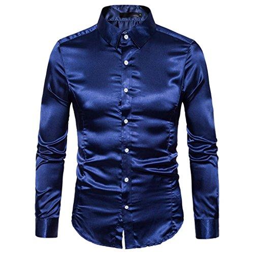 Personalità Fashion Men ' s casual Slim manica lunga camicetta top shirt,Yanhoo® Ultra Uomo Polo Maniche Lunghe Marina Militare