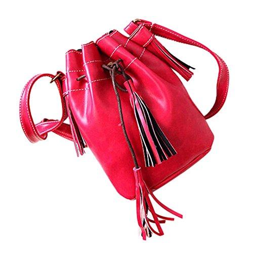 SODIAL(R) Borsa delle donne sacchetto di spalla della borsa di modo della nappa della borsa della borsa del messaggero delle donne della rappezzatura di cuoio della borsa viola Rosa rossa