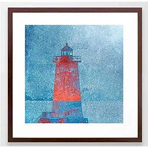 Fotografie Print Kunstdruck 12x12cm Leuchtturm rot blau maritim