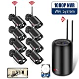 H.265 Home Security Camera Systems, ANRAN 8CH 1080P WiFi NVR Video Surveillance System with 8pcs 2.0MP Outdoor Waterproof CCTV IP Cameras, Auto Pair, Plug & Play, Remote View, Night Vision, 2TB HDD