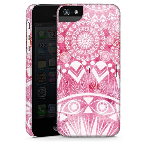 Apple iPhone 5 Housse Outdoor Étui militaire Coque Mandala Rose vif Vintage Rétro Collection CasStandup blanc
