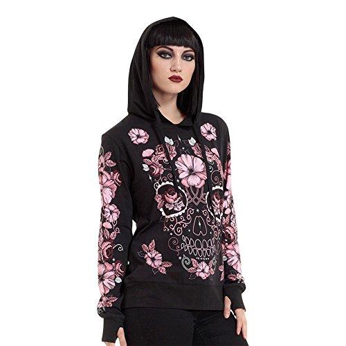 Felpa Hoodie Sugarskull Floral Jawbreaker (Nero), Black, Medium