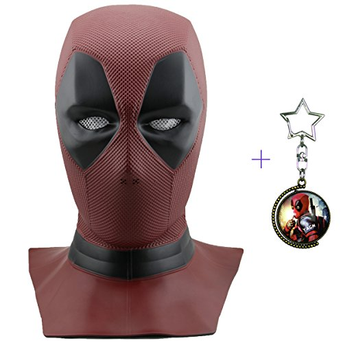 Yacn Deadpool Maske Cosplay Wunder & Deadpool Kostüm, Deadpool Movie Style Cosplay Maske für Kostüm - (Vollkopf Maske, Rot, Latex) (DP-mask)