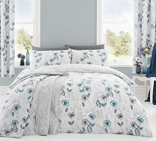 skizziert Stil Blumenmuster Mohn Entenei weiß breites Doppelbett ( Plain Weiß passendes Leintuch - 180 x 200cm + 25) 4-tlg. Bettwäsche Set
