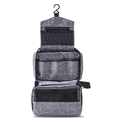 Beauty Case da Viaggio , Impermeabile Elegante Beauty Case Donna Uomo Ragazzina Appendibile Doccia 3 Compartment Mini Trousse Make Up Bag Portatile Toiletry bag Grande Wash Bag(Grigio)