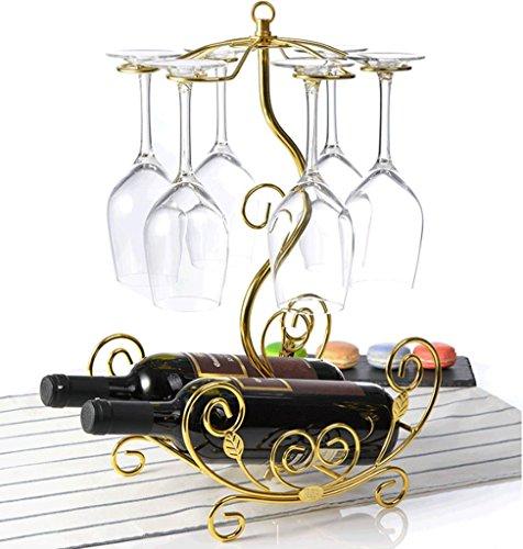 HETAO Weinregal Kreative Zwei Flaschen Weinregal Wein Tasse Inhaber europäischen Stil Weinregal Mode Flasche Rack Stamm sind Rack Ornamente, Gold Pendel Sache