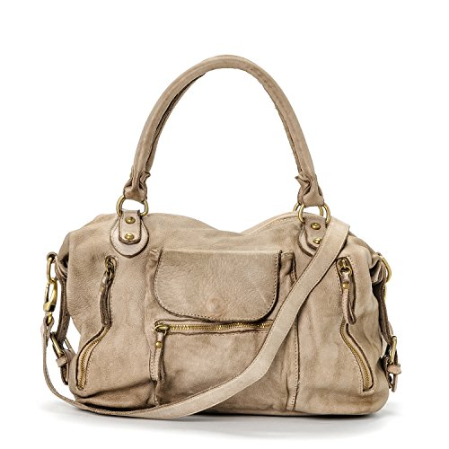 Ira del Valle, Borsa Donna, In Vera Pelle, Vintage, Modello Large Miami Streets Bag, Made In Italy Cammello