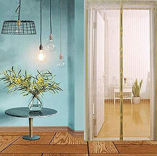ACZZ Magnetgitter-Türnetz - Moskito-Insekten-Fliegenwanzen-Vorhänge Magnetgitternetz und Verschlussband, geeignet für Balkon, Kinderzimmer, Küche, Wohnzimmer, 70 * 200Cm-150 * 240Cm,Beige,110 * 210 C Breeze Cross Strap
