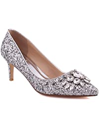 """2617d92ee93 Unze Women """"Valo""""Closed Pointy Toe Embellished Classic Low Kitten Heel  Diamante Dress Slip On Formal Courts…"""