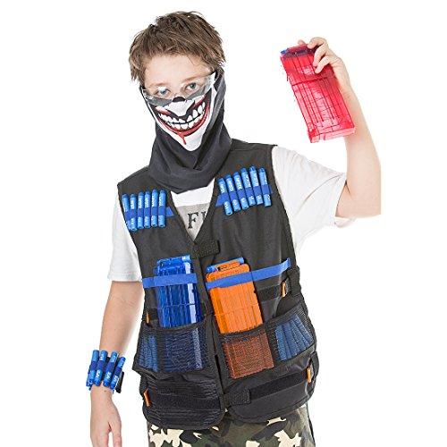 Tactique Westet Kit, Lommer Tactique Weste Darts Speicher Weste und 2Pcs Bullet Clip und 40Pcs Soft Bullet und Schutzbrille und Soft Bullet Armband und Maske für Nerf N-Strike Elite Series