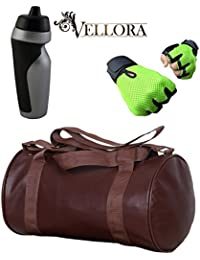 VELLORA Soft Leather Duffel Gym Bag (Brown) With Penguin Sport Sipper, Gym Sipper Water Bottle Color Black Grey... - B07F2HX68S
