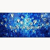Hohe Qualität handbemalt Landschaft abstrakt Palette blau Tulip House Wand Wohnzimmer Kunst, canvas, blau, 32x64inch(80x160cm)
