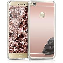 kwmobile Funda para Huawei P8 Lite (2017) - Case para móvil de TPU silicona - Cover trasero en oro rosa reflectante