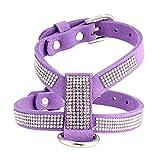 Jamisonme Glitter Fashion Bling Diamant Glitter Kristall Kragen Welpen Katze Hundegeschirr Brustgurt Lead Pet (Lila/M)
