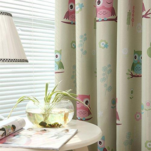 LianLe Vorhang Gardine mit Ösen Eule Druck Blickdicht Schlaufenschal 100 * 250 cm Wohnzimmer Kinderzimmer Deko (A: 1 Stk Blickdicht Vorhang, Grün)