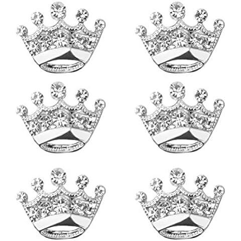 ULTNICE 12pcs Tiara corona broche alfiler boda fiesta desfile broche (plata)