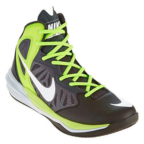 Nike Herren Prime Hype DF Basketball Turnschuhe, Weiß / Schwarz / Grün (Schwarz / Weiß-Anthrazit-Volt), 44 EU
