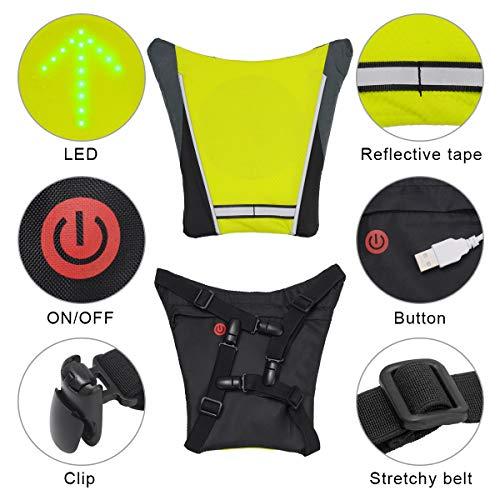 LAOYE Gilet Clignotant Vélo Gilet Signalisation Velo Gilet LED Velo Réfléchissant 4 Mode Sac à Dos de Velo Gilet LED Clignotant avec USB Rechargeable Télécommande Veste Sécurité pour Cyclisme