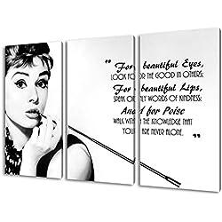 Cartel de Audrey Hepburn con citas en inglés. Está dividido en tres láminas.