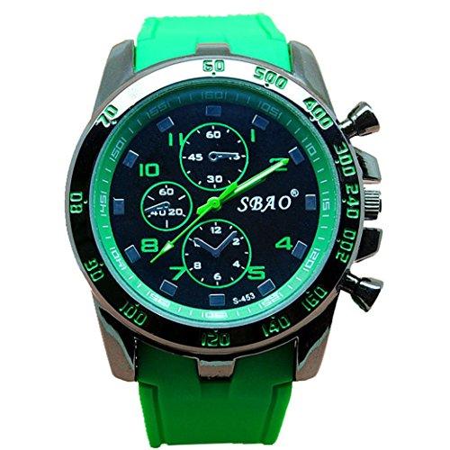 orologio da polso, orologio di sport FEITONG in acciaio inox lusso al quarzo uomini moderni moda (Verde)