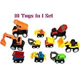 US1984 Pull Back Vehicles, Mini Push Pull Back Car, 10 Pcs Assorted Construction Vehicles Toys, Kids Pull Back Racer Cars Toy Play Set, Vehicle Play Set For Children For Fun