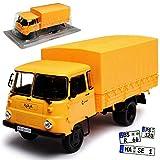 alles-meine GmbH Robur LD 3001 LKW Pritsche mit Plane Gelb Braun 1/43 Modellcarsonline Modell Auto