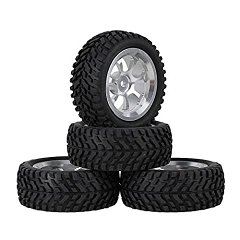 Mxfans Beard Pattern Rubber Tyre & Silver Aluminum Alloy Wheel Rims with 7-Spoke for RC 1:10 On-Road Racing Car Pack of 4
