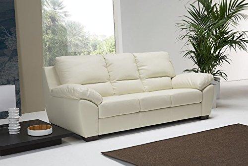 Bioecoshop divano in pelle 3 posti bioeco sof peo mis 205 x 95 cm h 97 cm tinta bianco