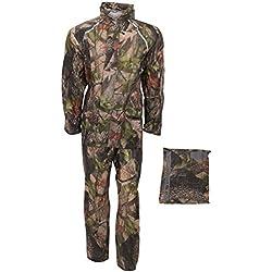 ProClimate - Traje lluvia Impermeable Modelo Camuflaje hombre caballero (Mediana (M)/Verde militar)