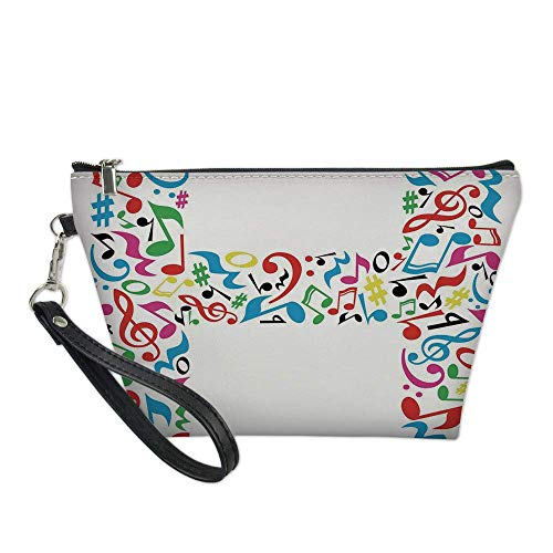Letter H Useful Cosmetic Bag,Communication Tool Writing Language Element H Designed in Musical Notes Print Decorative for Travel ,21.5×14.5×6.5IN
