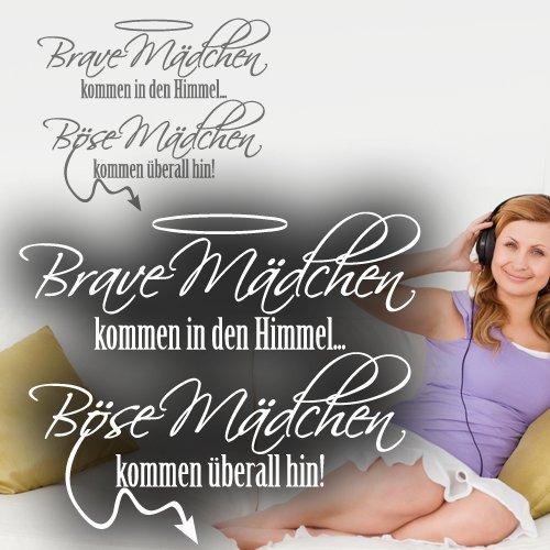 """Preisvergleich Produktbild Wandkings Wandtattoo """"Brave Mädchen kommen in den Himmel ... Böse Mädchen kommen überall hin!"""" 70 x 57 cm gold - erhältlich in 33 Farben"""