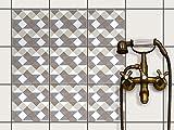 creatisto Dekor-Fliesen, Badfliesen | Fliesentattoo Küche Bad ergänzend zu Kühlschrankmagnet Wandtattoo | 20x20 cm Muster Ornament Triangle Pattern - Grau - 9 Stück