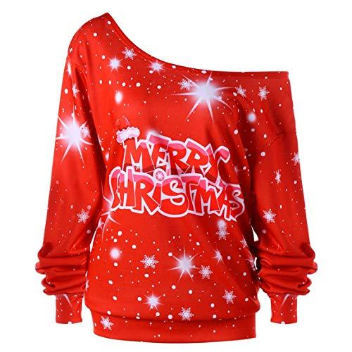 Moonuy Frauen Langarm-Shirt Damen Plus Size Frohe Weihnachten Brief Print Langarm Skew Kragen...