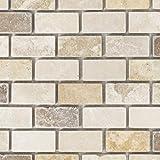 Mosaik Fliese Travertin Naturstein beige braun Brick Travertin tumbled für BODEN WAND BAD WC DUSCHE KÜCHE FLIESENSPIEGEL THEKENVERKLEIDUNG BADEWANNENVERKLEIDUNG Mosaikmatte Mosaikplatte