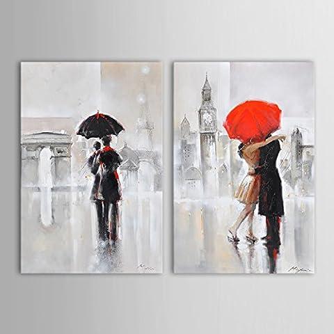 IPLST@ pintada a mano los amantes de los romántico en París en días lluviosos aceite Pinturas sobre lienzo, moderno abstracto de pared decoración, juego de 2 (sin marco, sin diseño)