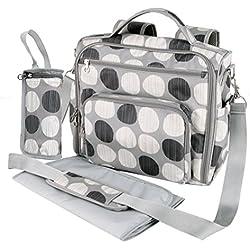 Yodo versátiles de bolsa de pañales en los cambios de pañales de algodón de la mochila de Y de correa para el hombro y una bolsa de regalos y pantalla a juego para saco de dormir y la del bebé, con varios Grey Polka Dot