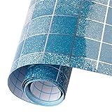 Hsooor Wandsticker Kleben Sticker Mosaik Wandfliese Aufkleber für Küche Bad Blau