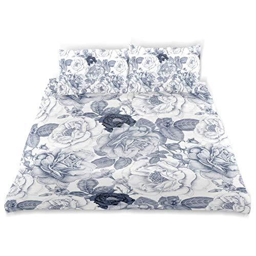 Soefipok Dekor Bettbezug Set, Shabby Chic Garden Spring Roses Drucken Sie eine dekorative 3-teilige Bettwäsche mit Kissenbezügen -