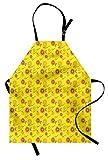 ABAKUHAUS Amarillo Delantal de Cocina, Infantiles De Chicas Flores, Apto para Lavadora Colores No Destiñen Resistentes al Agua