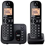 Panasonic KX-TGC222EB Digital Cordless Phone with LCD Display - Black (Pack of 2)