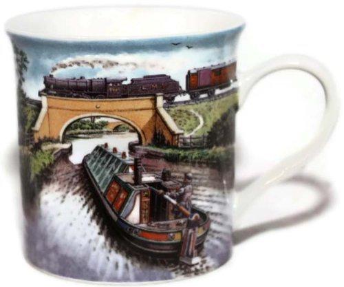 I've Missed The Post Again Tasse mit Wasserfarben-Motiv Kanalboot und Eisenbahn, Porzellan (Bahn-post)
