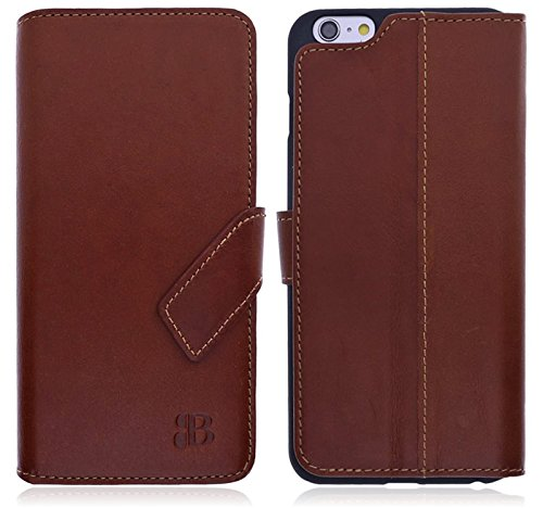 Burkley Apple iPhone 6 Plus / iPhone 6S Plus Hülle | Handyhülle | Schutzhülle | Handytasche | Tasche | Cover | Case mit Standfunktion im Vintage / Retro Look (Tobacco Braun)