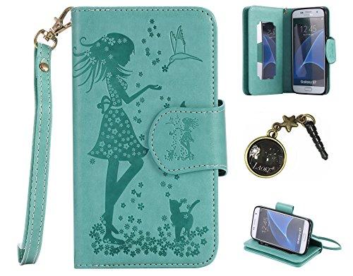 PU Abdeckungs-Fall Smartphone Samsung Galaxy S7 PU-Mappe Kasten Schutzhülle Geldbörse , Kreditkartenschlitz (Schlitz 9), Silikon Schutzhülle Handyhülle Painted zum Schutz + Staubkappe (9VV)
