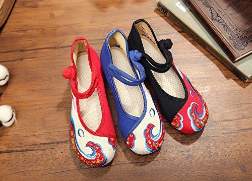 &hua Chaussures brodées, carpe, lin, semelle de tendon, style ethnique, féminine, mode, confortable, chaussures de danse white blue