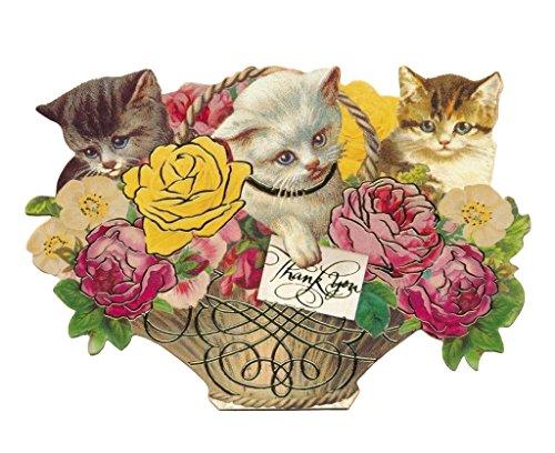 Punch Studio Box Set von 10Gold Folie, ausgeschmückt gestanzt Fancy Thank You ~ Kätzchen in Floral Korb 64539 -