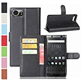 MaxKu BlackBerry KEYone Hülle, Premium PU Leder Mappen Kasten für BlackBerry KEYone Smartphone, Schwarz